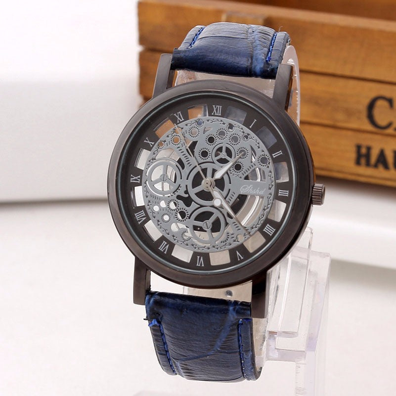 Skeleton Wristwatch with Deep Blue Genuine Leather wristband - Be the Boss