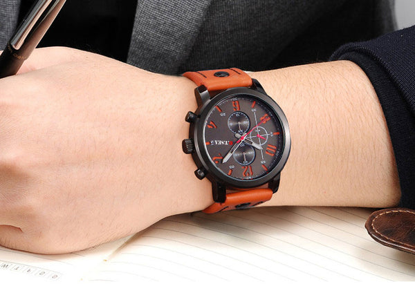 Military Sports Wristwatch with Orange Leather wristband - Be the Boss