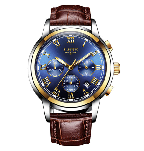 Classic Blue Gold Stainless Steel Waterproof Wristwatch - Be the Boss