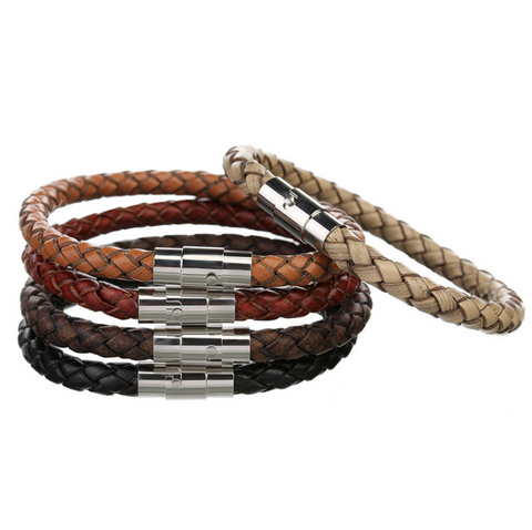 Leather Bracelet, Bangle with Stainless Steel Magnetic Clasp (5 colours) - Be the Boss
