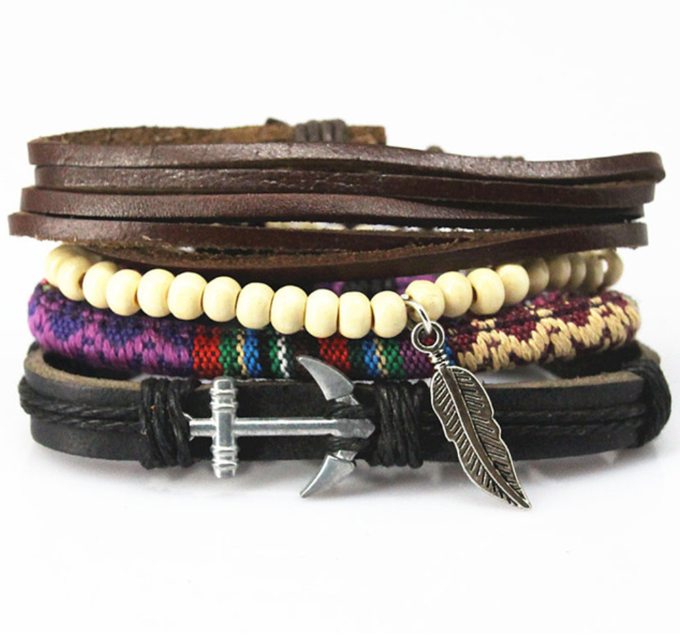 Handmade Anchor and Leaf Multilayer Beaded Wrap Bracelets - Be the Boss