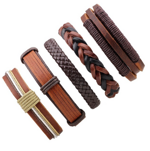 Brown Multilayer Braid & Bangles Punk Wrap Bracelets - Be the Boss