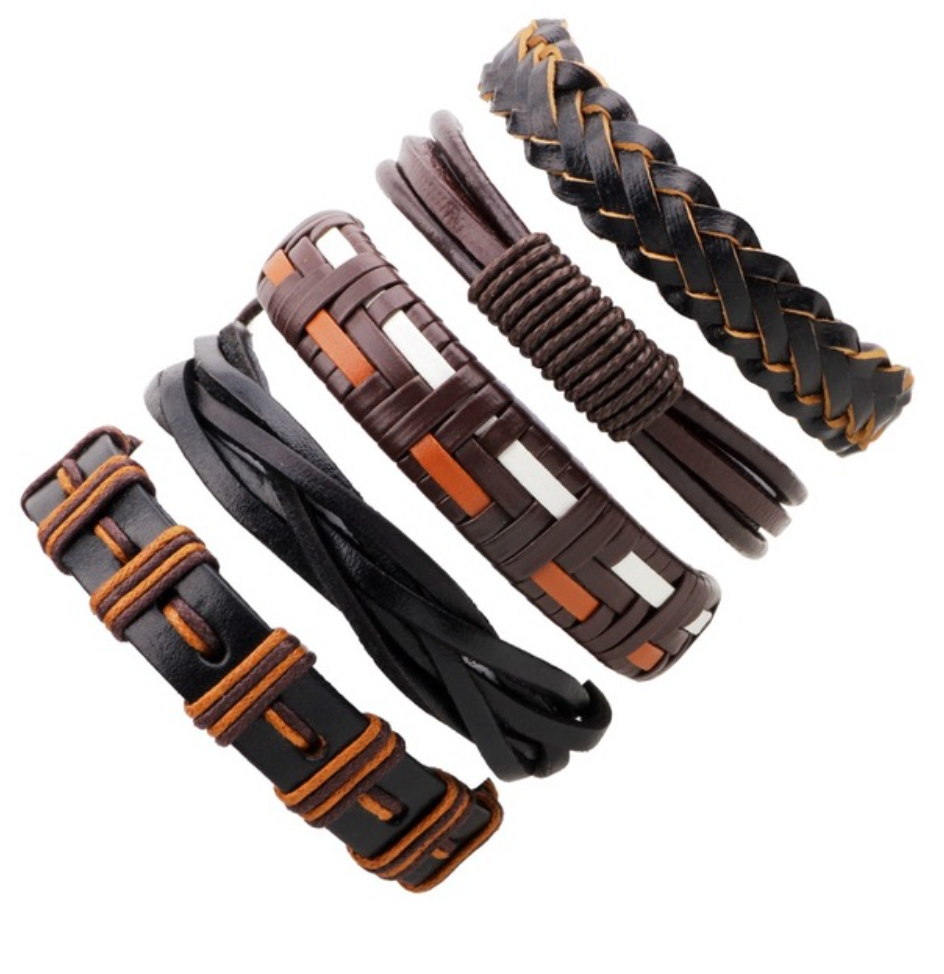 Dark Brown Multilayer Braid & Bangles Punk Wrap Bracelets - Be the Boss