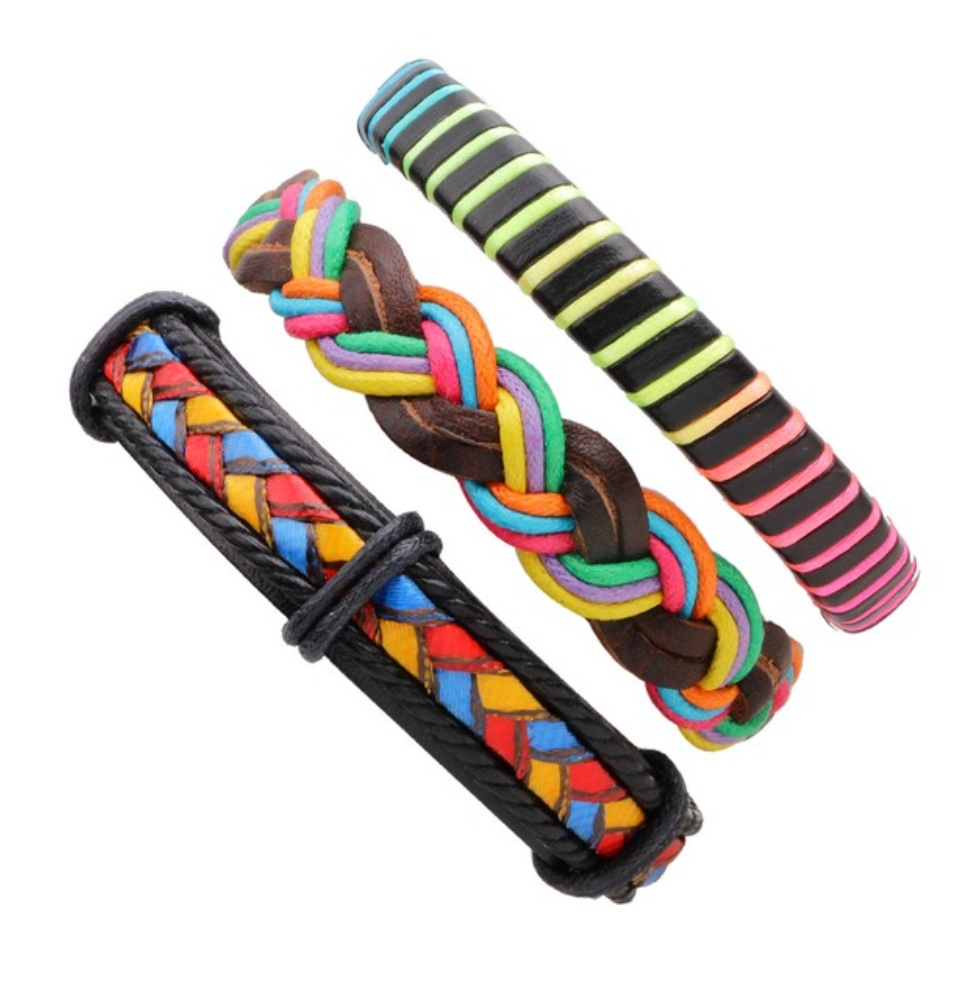 Colorful Multilayer Braid & Bangles Punk Wrap Bracelets - Be the Boss