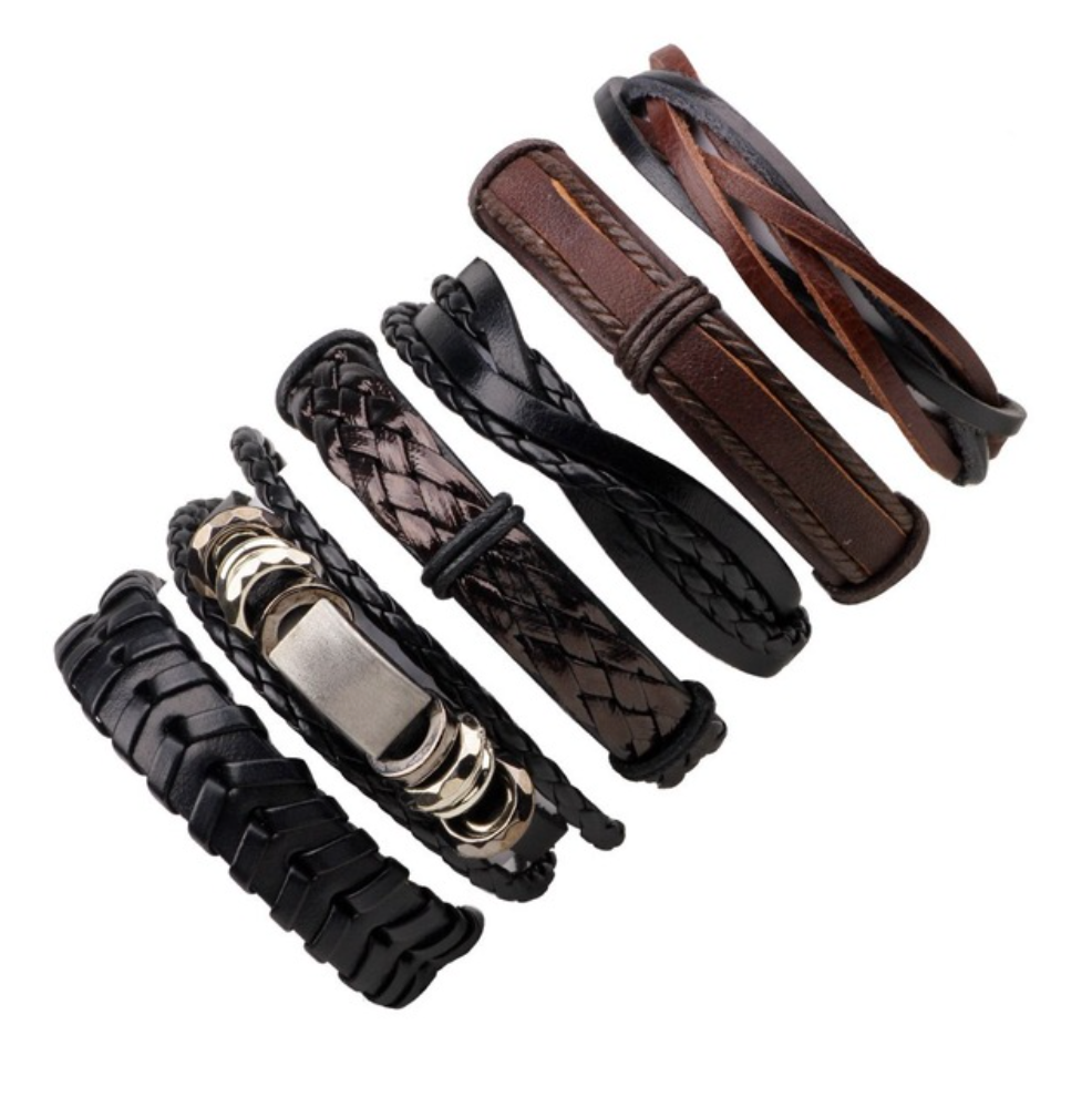 Black and Brown Multilayer Braid & Bangles Punk Wrap Bracelets - Be the Boss