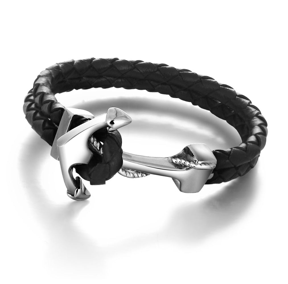 Black Bold Bracelet with Anchor for Men - Be the Boss