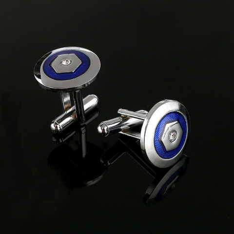 Blue Silver Vintage Round Cufflinks - Be the Boss
