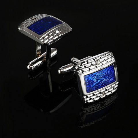 Deep Blue Sea Silver Rectangle Deluxe Cufflinks - Be the Boss