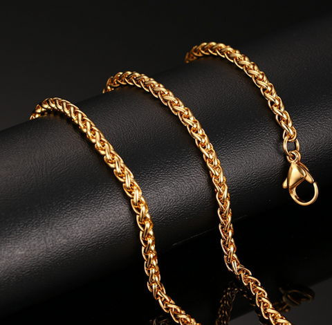 Stainless Steel Gold twist chain Men's Necklace - Be the Boss