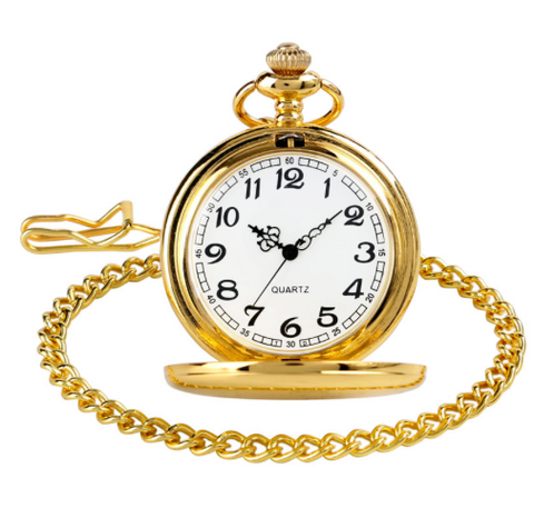 Pocket Watch Gold Smooth Steampunk Stainless Steel with a gift box - Be the Boss