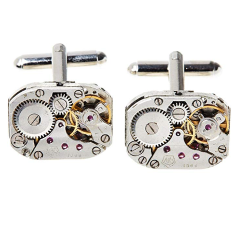 Rectangular Stainless Steel Vintage Steampunk Watch Movement Cufflinks - Be the Boss