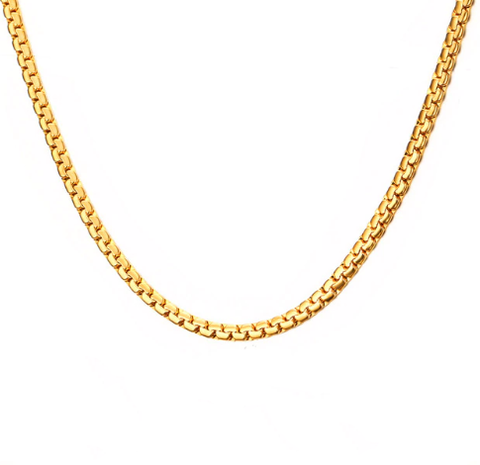 Fashion Stainless Steel Gold 3mm square chain Men's Necklace - Be the Boss