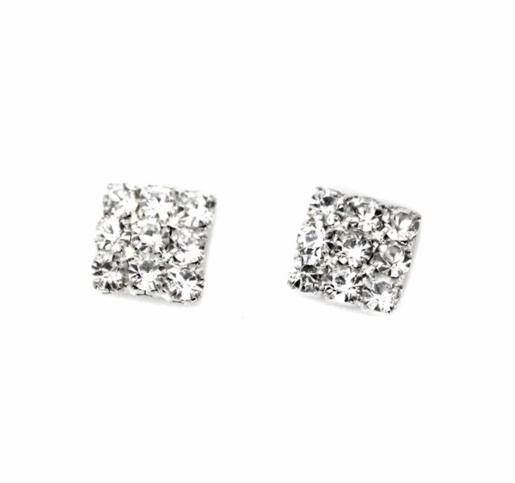 Crystal Square Earring Studs - Be the Boss