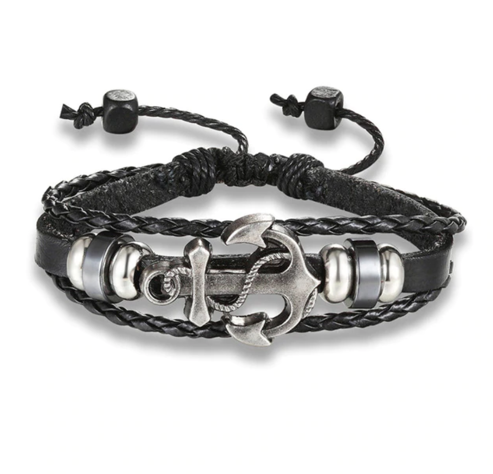 Vintage Anchor Bracelet Black Leather Charm for Men - Be the Boss