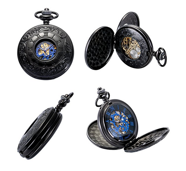 Double Hunter Pocket Watch Skeleton Mechanical Movement Retro Chain + Luxury Gift Box - Be the Boss