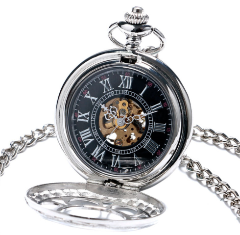 Pocket Watch Silver Steampunk Skeleton Retro Chain + Luxury Gift Box - Be the Boss