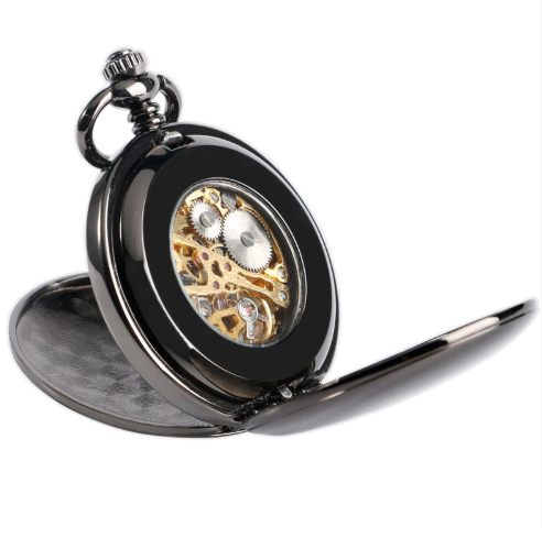 Double Hunter Pocket Watch Black Smooth Steampunk Mechanical + Luxury Gift Box - Be the Boss