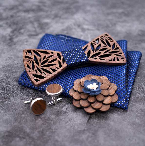 Elite Handmade Gift Set for men – 100% Wooden Bow Tie, Handkerchief, Cufflinks and Pin (5 colours) - Be the Boss