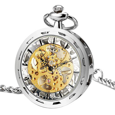 Pocket watch Open Face Steampunk Skeleton Mechanical + Luxury Gift Box - Be the Boss