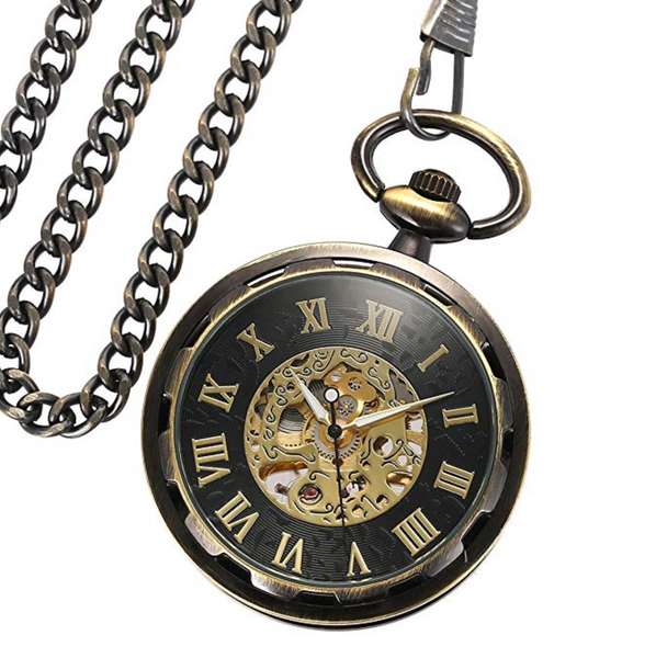 Pocket Watch Open Face Bronze Steampunk Skeleton Mechanical + Luxury Gift Box - Be the Boss