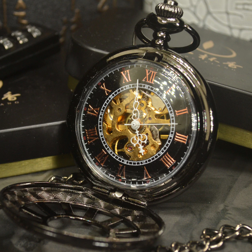 Pocket Watch Vintage Classic Steampunk Skeleton Retro Chain Mechanical + Luxury Gift Box - Be the Boss