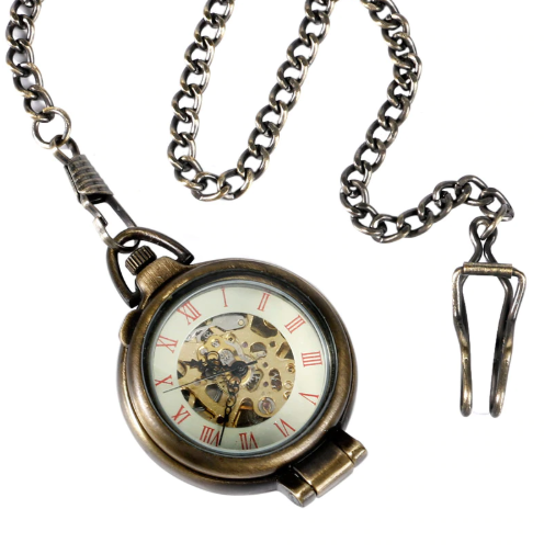 Open Case Transparent Glass Cover Roman Pocket Watch Mechanical Bronze Steampunk with Gift Box - Be the Boss