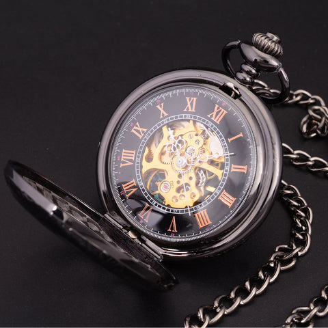 Pocket Watch Steampunk Skeleton Retro Chain Mechanical + Luxury Gift Box - Be the Boss