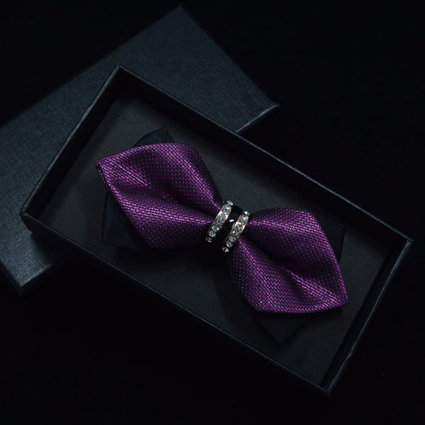 Sharp Corners Tuxedo Crystal Bow Tie for Men (7 colours) - Be the Boss
