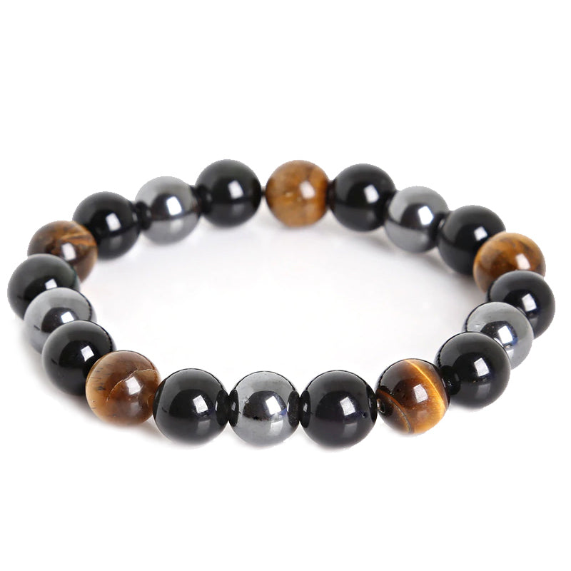 Tiger Eye & Hematite & Black Obsidian 10mm Stone Bracelet - Be the Boss