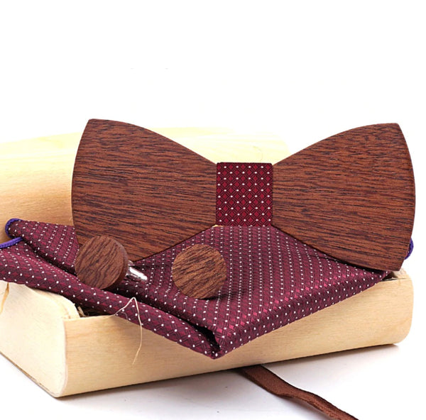 Deluxe Handmade Gift Set for men – 100% Wooden Bow Tie and Cufflinks (4 colours) - Be the Boss