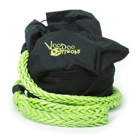 VooDoo Offroad Recovery Rope Bag Green Nylon Mesh Front Panel Zipper
