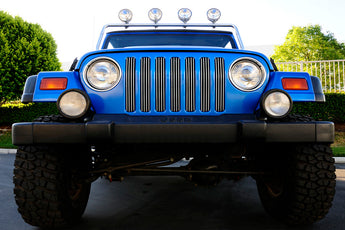 T-REX Billet Series, 7 Piece Bolt On Grilles - Polished - 1997-2006 Jeep TJ