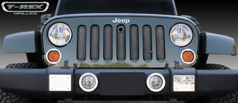 T-REX Sport Series, Bolt On Grilles w/ Mopar Hood Lock - Powdercoat - 2007-2017 Jeep JK