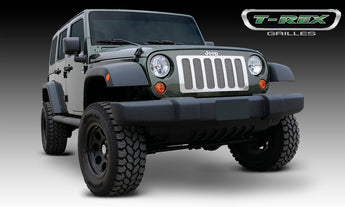 T-REX Upper Class Series, 1 Piece Insert Grilles - Stainless Steel Polished - Requires Drilling or Cutting - 2007-2017 Jeep JK