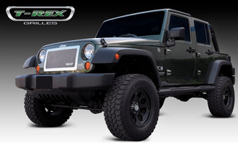 T-REX Upper Class Series, 1 Piece Insert Grilles - Steel Polished - Requires Drilling or Cutting - 2007-2017 Jeep JK