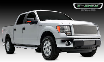 T-REX Upper Class Series, 1 Piece Insert Grilles - Polished - Requires Drilling or Cutting - 2013-2014 F150