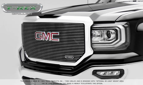 T-REX Laser Billet Series, Insert Grilles w/ Logo - Polished - Requires Drilling or Cutting - 2016-2018 GMC 1500