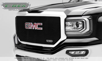 T-REX Laser Billet Series, Insert Grilles w/ Logo- Powdercoat - Requires Drilling or Cutting - 2016-2018 GMC 1500