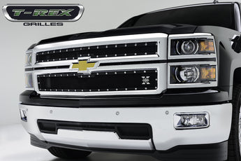 T-REX X Metal Series, 2 Piece Grilles - Powdercoat - 2014-2015 Silverado