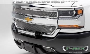 T-REX X Metal Series, 2 Piece Overlay Grilles - Polished - 2016-2018 Chevy 1500