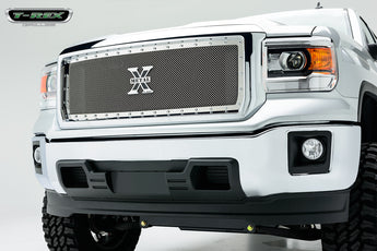 T-REX X Metal Series, 1 Piece Insert Grilles - Polished - Requires Drilling or Cutting - 2014-2015 Sierra