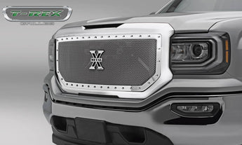 T-REX X Metal Series, 1 Piece Insert Grilles - Polished - Requires Drilling or Cutting - 2016-2018 GMC 1500