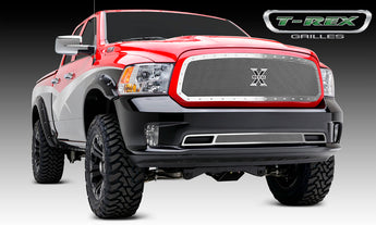 T-REX X Metal Series, 1 Piece Insert Grilles - Polished - Requires Drilling or Cutting - 2013-2018 Ram 1500