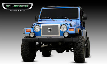 T-REX X Metal Series, Insert Grilles - Polished - Requires Drilling or Cutting - 1997-2006 Jeep TJ