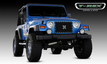 T-REX X Metal Series, 1 Piece Insert Grilles - Powdercoat - Requires Drilling or Cutting - 1997-2006 Jeep TJ