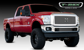 T-REX X Metal Series, 1 Piece Insert Grilles - Polished - Requires Drilling or Cutting - 2011-2016 Superduty
