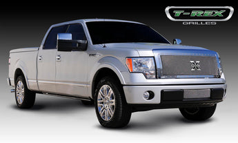T-REX X Metal Series, 1 Piece Insert Grilles - Polished - Requires Drilling or Cutting - 2009-2012 F150