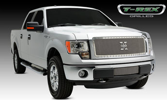 T-REX X Metal Series, 1 Piece Insert Grilles - Polished - Requires Drilling or Cutting - 2013-2014 F150