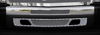 T-REX X Metal Series, 2 Piece Bolt On Bumper Grille - Polished - 2007-2013 Chevy 1500
