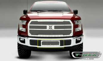 T-REX X Metal Series, Insert Bumper Grille - Polished - Requires Drilling or Cutting - 2015+ F150 Eco boost